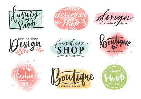 Collection of beautiful lettering hand drawn with elegant cursive font against colorful stains on background. Vector illustration for fashion boutique logo, apparel store or designer shop logotype.