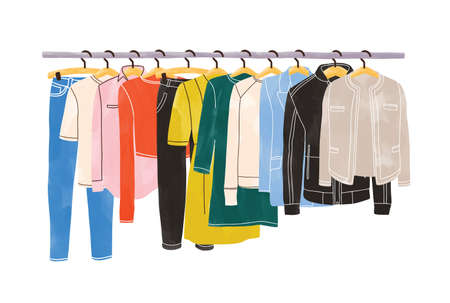 Vestiti colorati o capi appesi su grucce su porta abiti o su rotaia isolati su sfondo bianco. Organizzazione o stoccaggio dell'abbigliamento. Spazio interno di armadio o guardaroba. Illustrazione vettoriale disegnata a mano Vettoriali