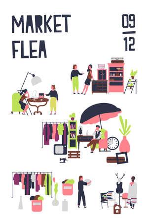 Plantilla de póster para mercado de pulgas o feria de trapos con compradores y vendedores de accesorios, muebles vintage, ropa elegante. Ilustración de vector de color en estilo de dibujos animados plana para anuncio de evento