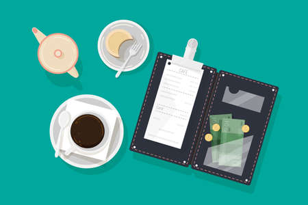Cup of coffee, piece of cake on plate, creamer and opened bill holder with restaurant check, money banknotes and coins, top view. Client's payment or tips for cafe service. Flat vector illustration Ilustração Vetorial