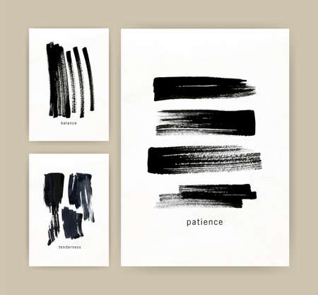 Collection of vertical minimalistic poster, flyer or card templates with black ink or paint traces, daub, scribble or brush strokes on white background. Modern monochrome artistic vector illustration