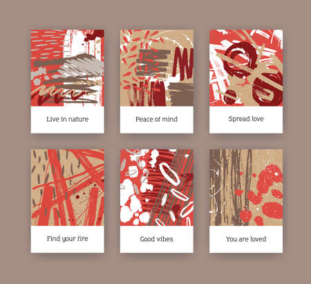 Set of poster or flyer templates with colorful brush strokes, paint traces and motivational slogans. Bundle of cards with bright colored smears and scribble. Modern artistic vector illustration