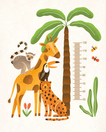 Children's height wall chart in centimeters decorated with tropical palm tree, jungle plants and funny cartoon exotic animals. Colorful vector illustration in flat style for kids growth measurement