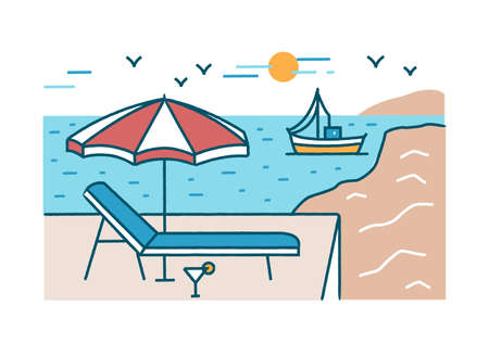 Summer scenery with sunlounger, cocktail and umbrella standing against yacht sailing in sea or ocean, beach and sun on background. Tropical paradise. Colorful vector illustration in linear style