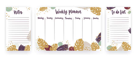 Bundle of weekly planner, sheet for notes and to do list templates decorated with tropical monstera leaves, artistic paint stains and brush strokes. Planning and scheduling. Vector illustration