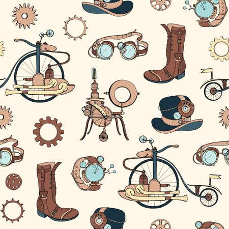 Modello senza cuciture con attributi steampunk e abbigliamento disegnato a mano su sfondo chiaro. Sfondo con macchine a vapore. Illustrazione vettoriale colorata e realistica per carta da parati, carta da imballaggio