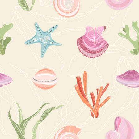 Colorful seamless pattern with seashells, starfish, molluscs, corals and seaweed on light background. Backdrop with sea flora and fauna. Realistic hand drawn vector illustration for wrapping paper. Illusztráció