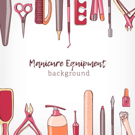 Square backdrop decorated with border consisted of manicure and pedicure equipment or tools for nail care hand drawn on white background and place for text. Colorful realistic vector illustration Ilustração