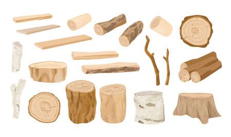 Collection de bûches de bois, branches d'arbres, bois d'œuvre, bois scié en planches brutes isolées sur fond blanc. Ensemble de bois de charpente et bois industriel. Illustration vectorielle colorée dans un style réaliste Vecteurs