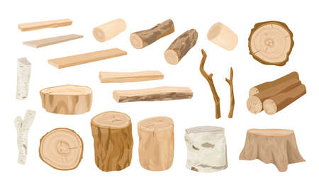 Collection of wooden logs, tree branches, lumbers, timber sawn into rough planks isolated on white background. Set of lumber and industrial wood. Colorful vector illustration in realistic style Ilustração