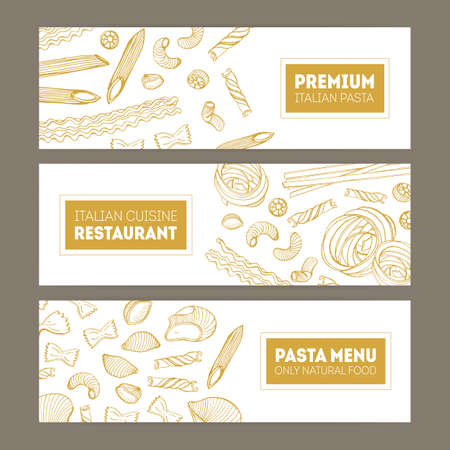 Bundle of horizontal web banners with various types of pasta hand drawn with contour lines on white background. Monochrome realistic vector illustration for Italian restaurant promo or advertisement