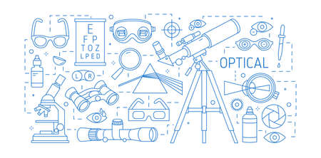 Horizontal banner with various optical devices, dispersive prism, glasses, human eye, optic lenses drawn with contour lines on white background. Monochrome vector illustration in lineart style  イラスト・ベクター素材