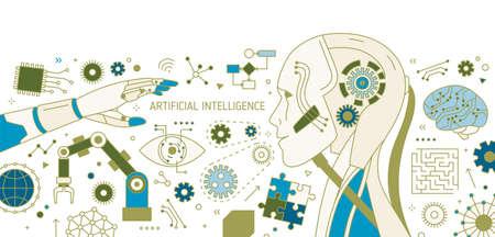 Bannière horizontale avec robot, bras robotique, manipulateur automatique, dispositifs technologiques innovants. Intelligence artificielle et apprentissage automatique. Illustration vectorielle dans un style d'art de ligne moderne.