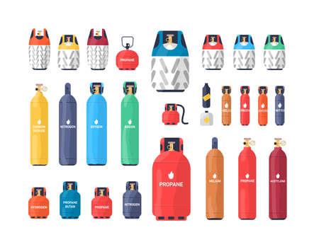 Sammlung von industriellen Druckgasflaschen oder -tanks verschiedener Größe und Farbe lokalisiert auf weißem Hintergrund. Bündel verschiedener Druckbehälter. Bunte Vektorillustration im flachen Stil Standard-Bild
