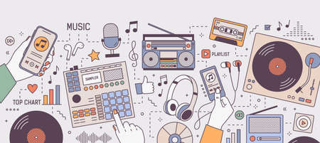 Colorful horizontal banner with hands and devices for music playing and listening - player, boombox, radio, microphone, earphones, turntable, vinyl records. Vector illustration in line art style Ilustrace