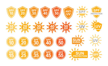 Collection of SPF and UV sun protection labels or signs isolated on white background. Colorful creative vector illustration in simple flat style for sunscreen and tan products or skin cosmetics