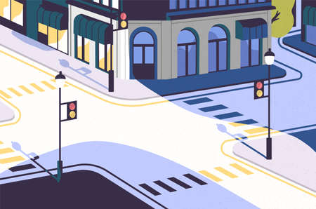 Urban landscape with empty street corner, elegant buildings, crossroad with traffic signals and pedestrian crossings or crosswalks. District of modern city. Vector illustration in cartoon flat style
