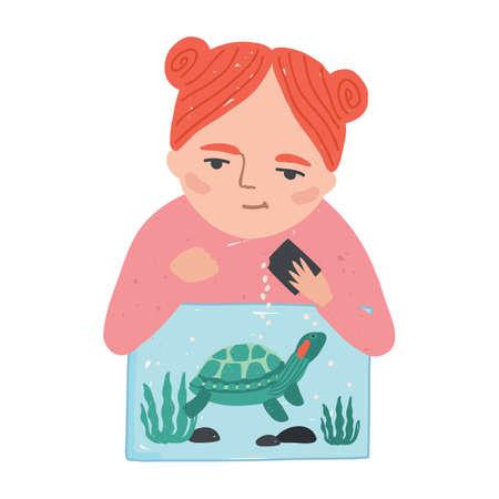 Jonge glimlachende roodharige vrouw of meisje die haar schildpad, schildpad of moerasschildpad voedt die in het terrarium leeft. Schattig vrouwelijk stripfiguur met binnenlands reptiel. Platte cartoon kleurrijke vectorillustratie