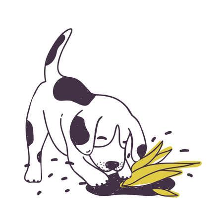 Perro alegre tierra de excavación cerca de la planta cultivada. Divertido cachorro travieso o perrito aislado sobre fondo blanco. Comportamiento desobediente de animal doméstico. Ilustración de vector dibujado a mano colorido Foto de archivo