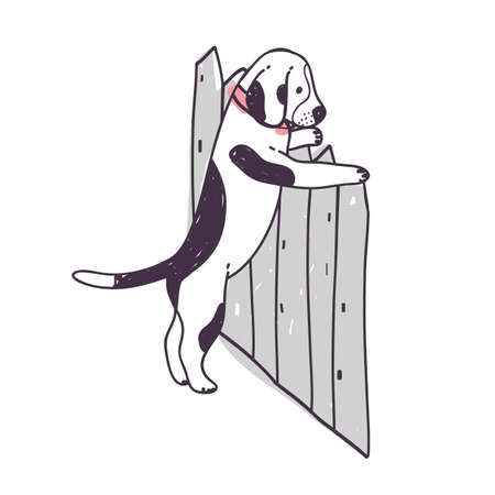 Cute dog trying to climb over fence and escape. Funny naughty doggy or puppy isolated on white background. Disobedient behavior of domestic animal or pet. Colorful hand drawn vector illustration