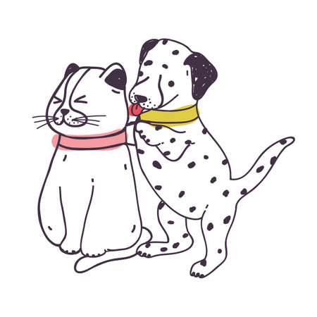 Amusing dog annoying cat. Playful naughty Dalmatian puppy irritating and bothering kitten isolated on white background. Bad behavior of domestic animal or pet. Colorful hand drawn vector illustration