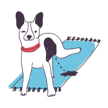 Lindo perro desagradable orinando en la alfombra aislado sobre fondo blanco. Perrito divertido o perrito orinando en casa. Mascota meando en casa. Mal hábito de animal doméstico. Ilustración de vector dibujado a mano de color
