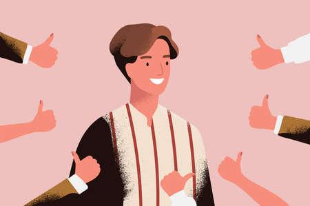 Fröhlicher junger Mann, umgeben von Händen, die Daumen hoch Geste demonstrieren. Konzept der öffentlichen Zustimmung, positive Meinung, Respekt, Anerkennung, Ehre und Wertschätzung. Flache Karikaturvektorillustration Vektorgrafik