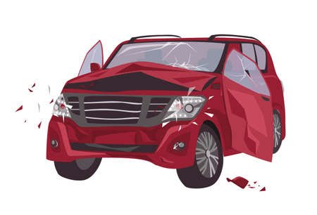 Automobile damaged by collision isolated on white background. Wrecked or crashed auto. Result of traffic or motor vehicle accident or car crash. Colorful vector illustration in flat cartoon style Vector Illustration