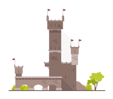 Ancient castle, fortress, citadel or stronghold with towers and arches isolated on white background. Stone building of beautiful medieval architecture. Flat cartoon colorful vector illustration.