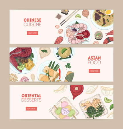 Collection of horizontal web banners with Asian cuisine meals and desserts lying on plates hand drawn on white background. Colorful vector illustration for restaurant or food delivery service promo