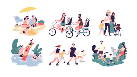 Collection of family outdoor recreational activities. Mother, father and children sunbathing, riding bikes, walking, swimming, roller skating, preparing barbecue together. Cartoon vector illustration
