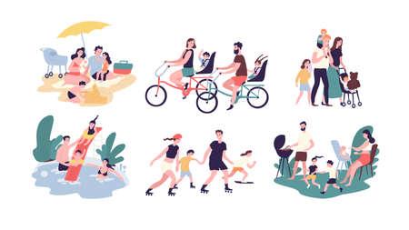 Verzameling van recreatieve buitenactiviteiten voor het hele gezin. Moeder, vader en kinderen zonnebaden, fietsen, wandelen, zwemmen, rolschaatsen, samen barbecueën. Cartoon vectorillustratie