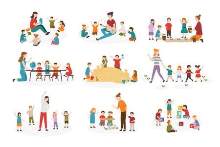 Pacchetto di attività in età prescolare o asilo nido. Insegnante femminile e bambini che suonano la chitarra e cantano canzoni, leggono libri, camminano, fanno esercizi di ginnastica insieme. Fumetto illustrazione vettoriale Cartoon Vettoriali