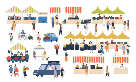 Seasonal outdoor street market. People walking between counters, buying vegetables, fruits, meat and other farmer products. Buyers and sellers on marketplace. Cartoon colorful vector illustration Ilustração