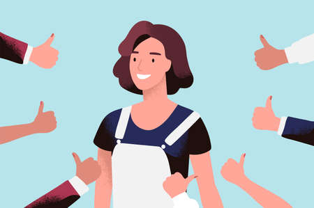 Cheerful young woman surrounded by hands with thumbs up. Concept of public approval, acknowledgment by audience, positive opinion, recognition. Colored vector illustration in flat cartoon style Reklamní fotografie - 114826423