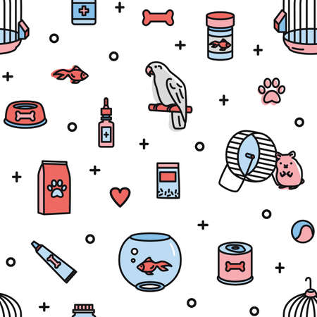 Seamless pattern with pet shop products and funny domestic animals on white background. Colorful vector illustration in modern linear style for fabric print, wrapping paper, wallpaper, backdrop