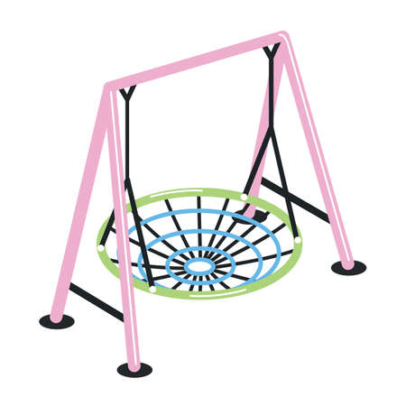 Swing with suspended round net seat isolated on white background. Outdoor playground device or tool for kids play activity and amusement. Colorful vector illustration in flat cartoon style