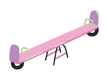 Seesaw or teeter-totter with handles isolated on white background. Outdoor device or attraction for children s play activity and entertainment. Colorful vector illustration in flat cartoon style. Illustration