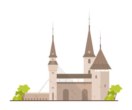 Old European castle, fortress or stronghold with towers and drawbridge isolated on white background. Royal residence of fantasy medieval architecture. Flat cartoon colorful vector illustration.