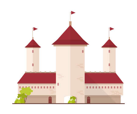 Fairytale castle, fortress or citadel with towers and gate isolated on white background. Facade of magic ancient royal residence or historical building. Flat cartoon colorful vector illustration.