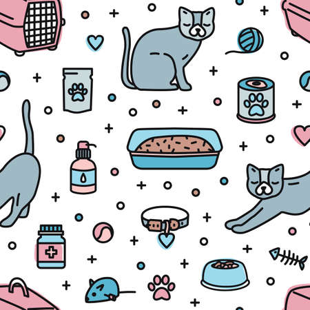 Seamless pattern with pet shop products for cats home keeping on white background. Colorful vector illustration in modern line art style for textile print, wrapping paper, wallpaper, backdrop Иллюстрация