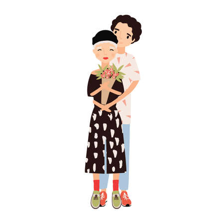 Boy hugging girl holding bouquet. Cute romantic couple cuddling on date. Young man and woman in love. Happy cartoon characters isolated on white background. Flat colorful vector illustration