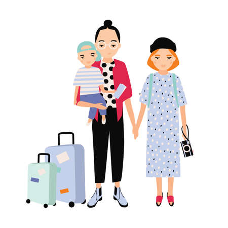 Happy family on trip. Mother, father and baby son traveling together. Parents and toddler child with touristic bags. Flat cartoon characters isolated on white background. Colorful vector illustration 向量圖像