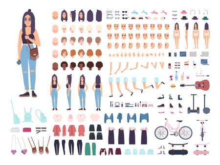 Teenage girl constructor or animation kit. Set of female teenager or teen body parts, facial expressions, hairstyles isolated on white background. Colored vector illustration in flat cartoon style Ilustração