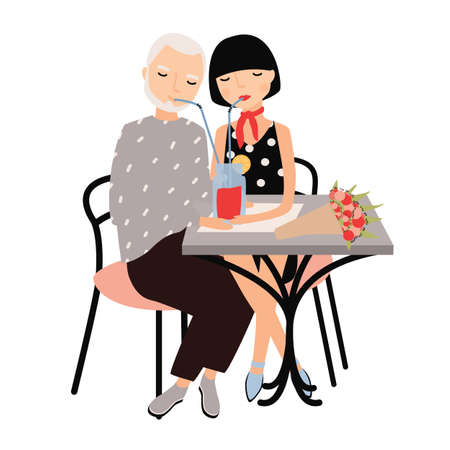 Pair of man and woman sitting at table and drinking cocktail with straws together. Couple on romantic date or meeting. Lovers at restaurant. Cartoon colorful vector illustration in flat style