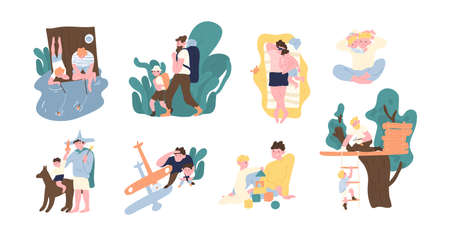 Conjunto de adorable par de padre e hijo que pasan tiempo juntos: jugando, pescando, caminando, tomando el sol, construyendo una casa en el árbol, lanzando un avión de juguete. Paternidad feliz. Ilustración vectorial de dibujos animados plana