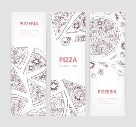 Bundle of vertical web banner templates with delicious classical pizza hand drawn with contour lines and place for text on white background. Realistic vector illustration for pizzeria or restaurant Ilustração Vetorial