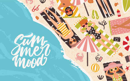Horizontal background with men and women lying on beach, relaxing and sunbathing near sea or ocean and elegant Summer Mood lettering handwritten with cursive font. Flat cartoon vector illustration Illustration