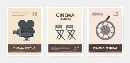 Bundle of vertical flyer or poster templates with retro camera, director and producer chairs, film reel and place for text. Colorful flat vector illustration for cinema festival advertisement, promo