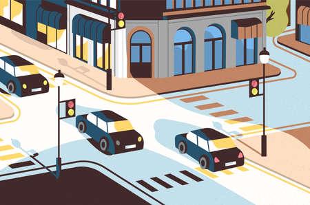 Paesaggio urbano con auto che percorrono strade, splendidi edifici, incrocio con semafori e attraversamenti pedonali o strisce pedonali. Vista della strada della città, paesaggio urbano. Moderna illustrazione vettoriale. Vettoriali